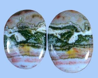 Matched Pair of 13x18mm Oval Ocean Wave Jasper Cabochons - ideal for earrings.