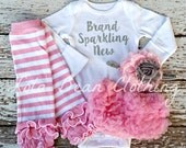READY TO SHIP Brand Sparkling New Take Home Outfit Baby Girl Newborn Baby Girl Bodysuit Pink Bloomers Headband Legwarmers Coming Home Outfit