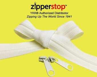15 Yards White or Black Coil Chain ZipperYKK® #4.5 with 30 Coil Long Pull Sliders-100% Made in USA~ZipperStop Wholesale Distributor YKK®