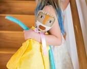 "Handmade Soft Cloth Doll ""Sage"", Multicultural doll, Mixed Media Cloth Doll"