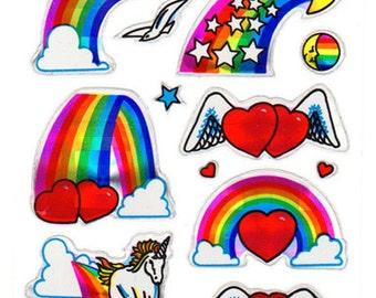 Vintage 80s Prism Rainbow Unicorn Hearts Sticker Sheet