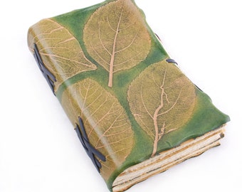 Leather Journal with natural tree leaves embossing