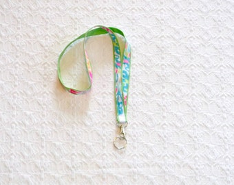 Colorful Lilly Coral Fabric Ribbon Lanyard