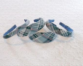 Classic Preppy Blue Madras Plaid Headband in 4 Sizes