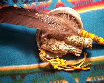 Smudge Kit with large abalone shell and beaded feathers