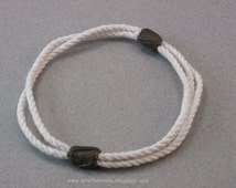 Multi strand white cotton slip on rope bracelet with brown whippings 3748