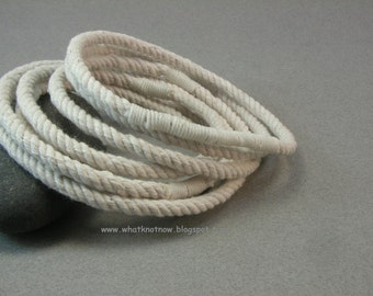 four yarn grommet rope bracelets soft bangle bracelets white slip on string bracelets  3808