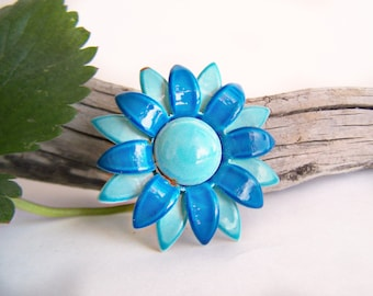 Vintage Enamel Flower Brooch Layered Petals in Shades of Blue Bright Color 1960s Jewelry Collectible Estate Jewelry