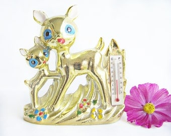 Vintage Deer Fawn Desk Figurine Thermometer Rare Kitschy Cute Glazed Gold cold paint detail  1950's  Collectible Ceramic Retro Deer Adorable