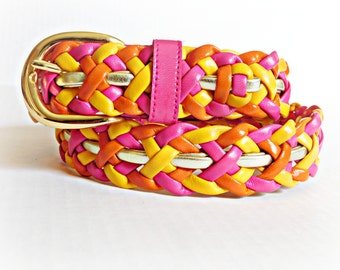 "Vintage Braided Leather Belt Totally 1980s Preppy Colors Sherbet Pink, Yellow, and Orange with Gold Buckle, Ladies  35"" Adjustable Belt"