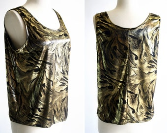 Black and Gold Woman's Vintage 70's Tank Top Blouse By Philippe Marcel