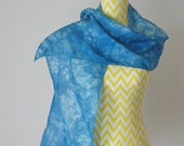 New hand dyed Habotai silk scarf 'The Sea'