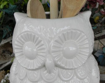 Owl utensil holder kitchen organization owl large ceramic planter Owl Garden  . owlpl