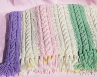Vintage Afghan Hand Knitted Afghan Vintage Knitted Cable Afghan Rainbow Colored Afghan Hand Knitted Cable Throw Vintage Knitted Throw