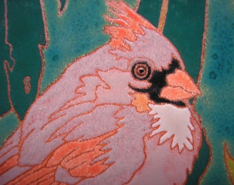 Female Cardinal bird tile with fine detail for the bird lover
