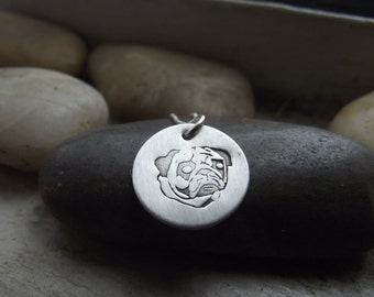 Pug pendant, The Pet Collection Pendant, Sterling silver 5/8 pendant, Pug owner gift, Pug Necklace, Memorial Pendant, Cremation Pendant