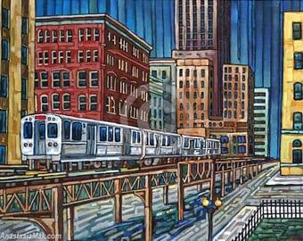 Chicago El Train, downtown Chicago, CTA, 8x10 Art Print by Anastasia Mak
