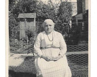 Grandma Old Woman vintage photo 1920s snapshot Outhouse Back Yard