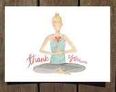 Thank You Yogi Card, 8-Pack of Watercolor Greeting Card (Blank Inside)