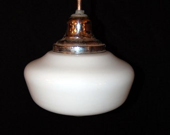 Original Art Deco 1930s Schoolhouse Pendant Light Fixture Vintage Lighting
