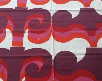 OMEGA Barbara Brown HEALS fabric / large piece original Op Art / screenprinted 1960s signature / vintage retro Nos New Old Stock curtain