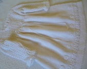 Knitted Christening Dress. Knitted Baby Dress.  6 to 12 Months Christening  Dress. White/Ivory Christening Dress.