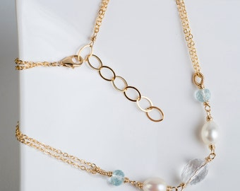 Brigit Necklace: Quartz Crystal, White Pearl and Aquamarine Gemstones Link, Coil, Gold, Blue, Aqua, AAA Gemstones, Petite, Classic, Simple