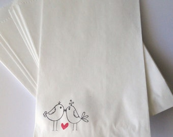 Love Birds with Red Heart candy bags - Candy Buffet - Gift bag - Wedding - Bridal Shower - Gift wrap - for Her - Set of 10 - White sack