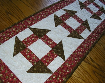 Quilted Table Runner, Brown and Red Runner, 13 1/2x 37 1/2 inches