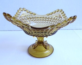 Antique Pressed Glass Thousand Eye Compote Yellow/Amber Glass