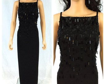 Vintage Maxi Black Beaded Dress. Open Back. Size 10. Stenay. 1980s. Sequins. Long Dress. Formal. Evening. Special Occasion. Under 75.