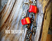 Coral & Hematite Earrings with Crystal and Sterling Silver