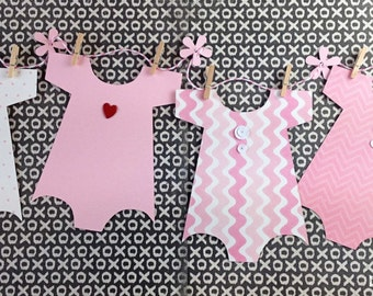 Kit Baby Shower Banner / Onesie Banner /Baby Shower Decoration /Baby Girl Onesie / Nursery Decoration / It's a Girl / Shower Decor