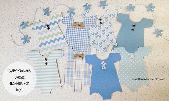 Kit-Baby Shower Banner / Baby Onesie Garland / Baby Shower Decoration / Nursery Decoration / Baby Shower Party / Baby Onesie / Its a Boy