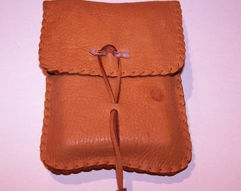 Leather Tarot Bag / Medicine Bag...Medium Vertical Flap.... RUST