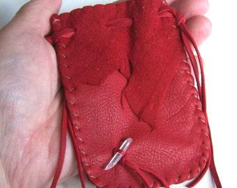 Leather Medicine Bag...RED