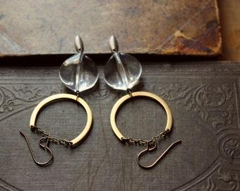 The Lora Earrings. Modern Bohemian Vintage Clear Lucite and Golden Brass Drop Earrings.
