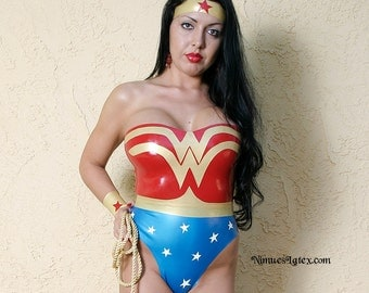Wonder Woman Latex Costume. Includes bodysuit, wrist bands, tiara and lasso