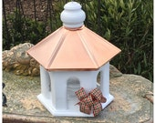 Bird Feeder, Copper Birdfeeder, Hanging Bird Feeder,Wooden Bird Feeder, Handcrafted Bird Feeder. White Birdfeeder