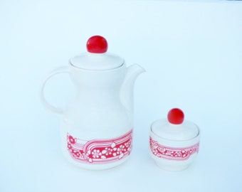 Mod Romanian Folk Art Coffee Service for 4 by FS Made in Romania: 70's Style Red & White Coffee Pot, Sugar Bowl, 4 Cups and Saucers