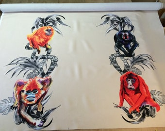 Monkeys textile print by Ray Clarke