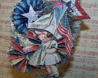 4th of July Decoration July 4th Vintage Style Decoration Americana Patriotic Decoration