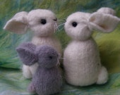 Fluffy Angora Bunny Family eco friendly hand sewn weighted to stand. (woolcrazy)