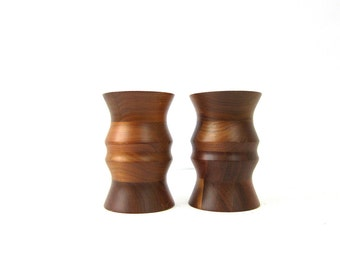 Vintage Black Walnut Wooden Candle Holders Candlesticks Pair of 2 Two Home Decor Ranch Home Decor Turned Wood Fat Short Tapered Dell's