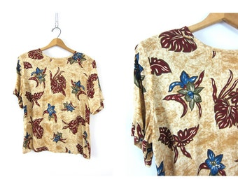 90s Blouse Boxy Rayon Top Vintage Tan Jungle Print Loose Fit Preppy Minimal Shirt Floral FLowers 1990s Prep School Top Women's size Medium