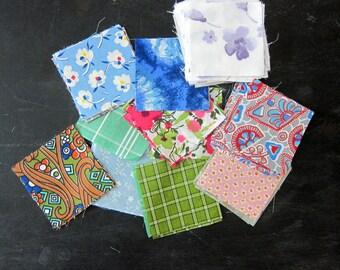 Vintage 3.5 inch quilt blocks floral Shabby Chic 107 fabric squares vintage Folk Art charms starter destash scraps remnants feedsack sheets