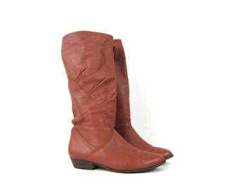 Tall Brown leather boots. fold over 80s Slouchy boots. grunge boho fall leather boots. women's size 7.5
