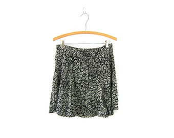 90s Floral Mini Skirt Button Front Revival High Waist Flower Print Black & White Preppy Mini Skirt Vintage Size Large