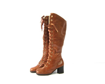 1960s tall Go Go boots Chunky heels Zipper Sides and Lace Up Fashion boots boho chic Brown boots Distressed Womens 6.5 B
