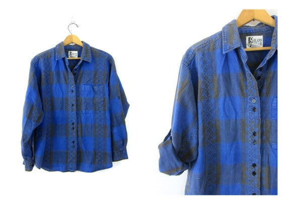 Vintage Embroidered button up shirt Black and Blue Plaid shirt southwestern baja shirt Cotton Button Down Tee Shirt Womens Size Large